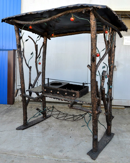Мангал из металла с крышей своими руками чертежи и фото